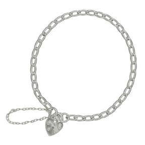 "7.5"" 3.3mm thick Sterling silver narrow charm bracelet 5.57g"